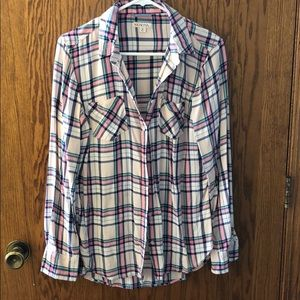 Pastel colored plaid top